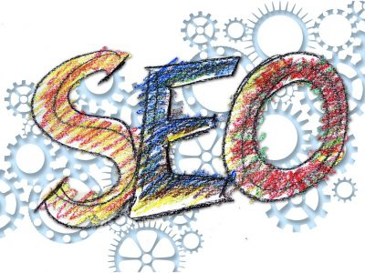 """a white background picture with """"SEO"""" taking the center, and wrenches all around and behind it"""