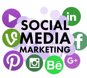 """""""Social Media Marketing"""" appears at the front and center, with LinkedIn, Facebook, Google Plus, Instagram, Pinterest, YouTube and other social media logos surrounding it."""