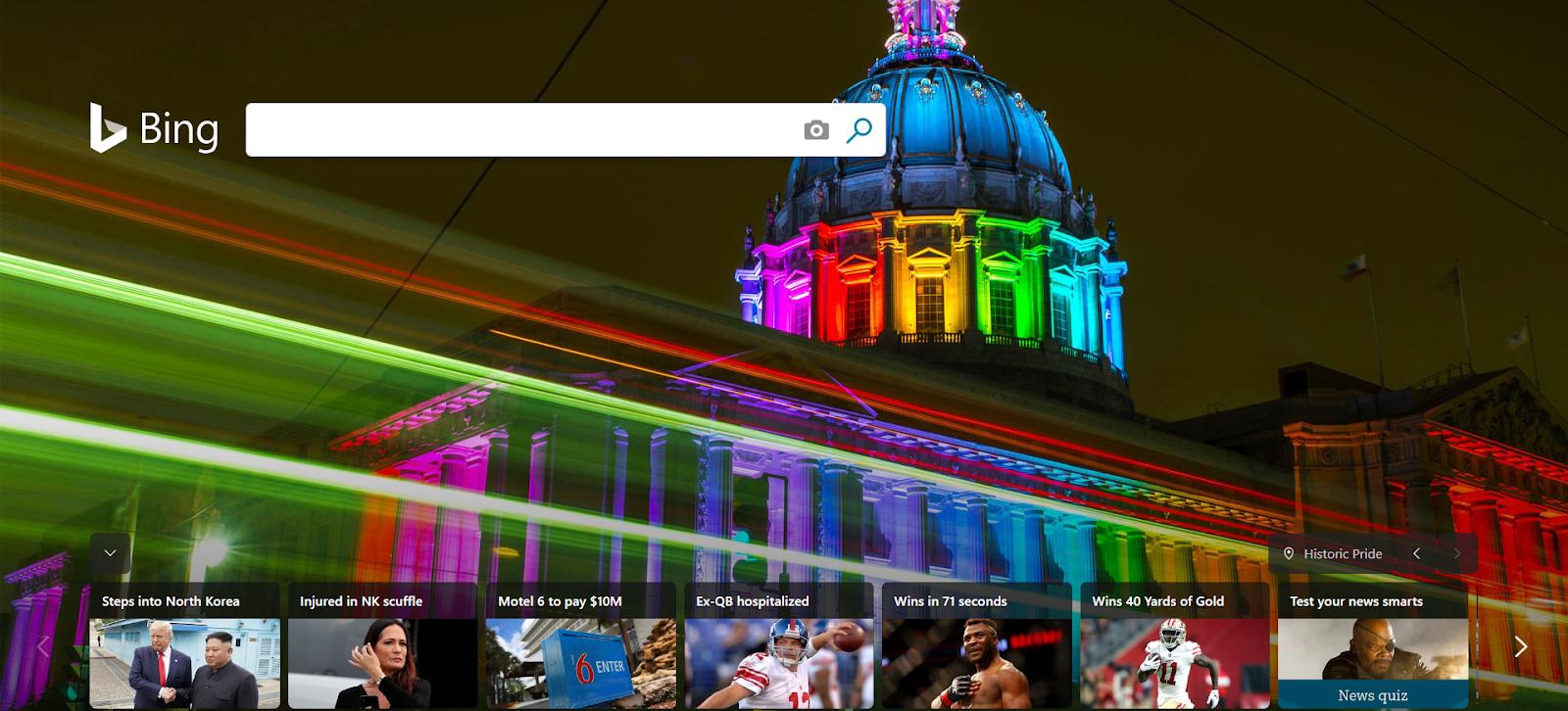 Bing's (Microsoft's search engine) main page.