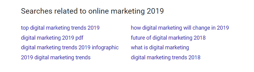 "Screenshot of Google's related terms at the bottom of SERP related to ""online marketing 2019""."