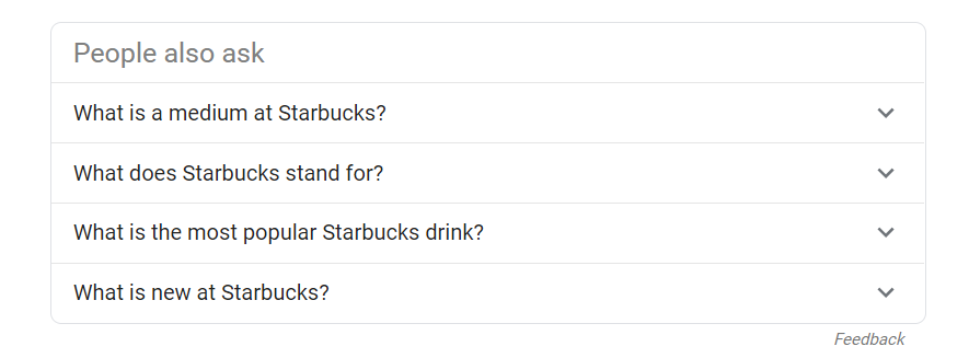 "Screenshot of Google's ""People ask for"" frequently ask questions featuring their search engine."